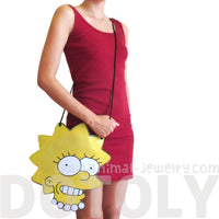 Lisa Simpson Shaped Photo Print Vinyl Cross Body Bag