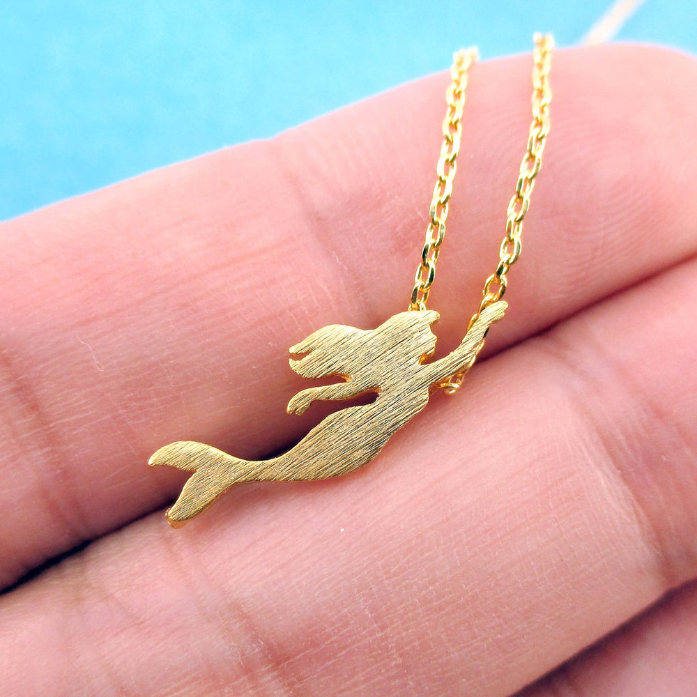 Little Mermaid Silhouette Shaped Pendant Necklace in Gold | DOTOLY