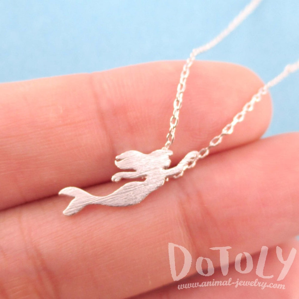Little Mermaid Silhouette Shaped Pendant Necklace in Silver | DOTOLY