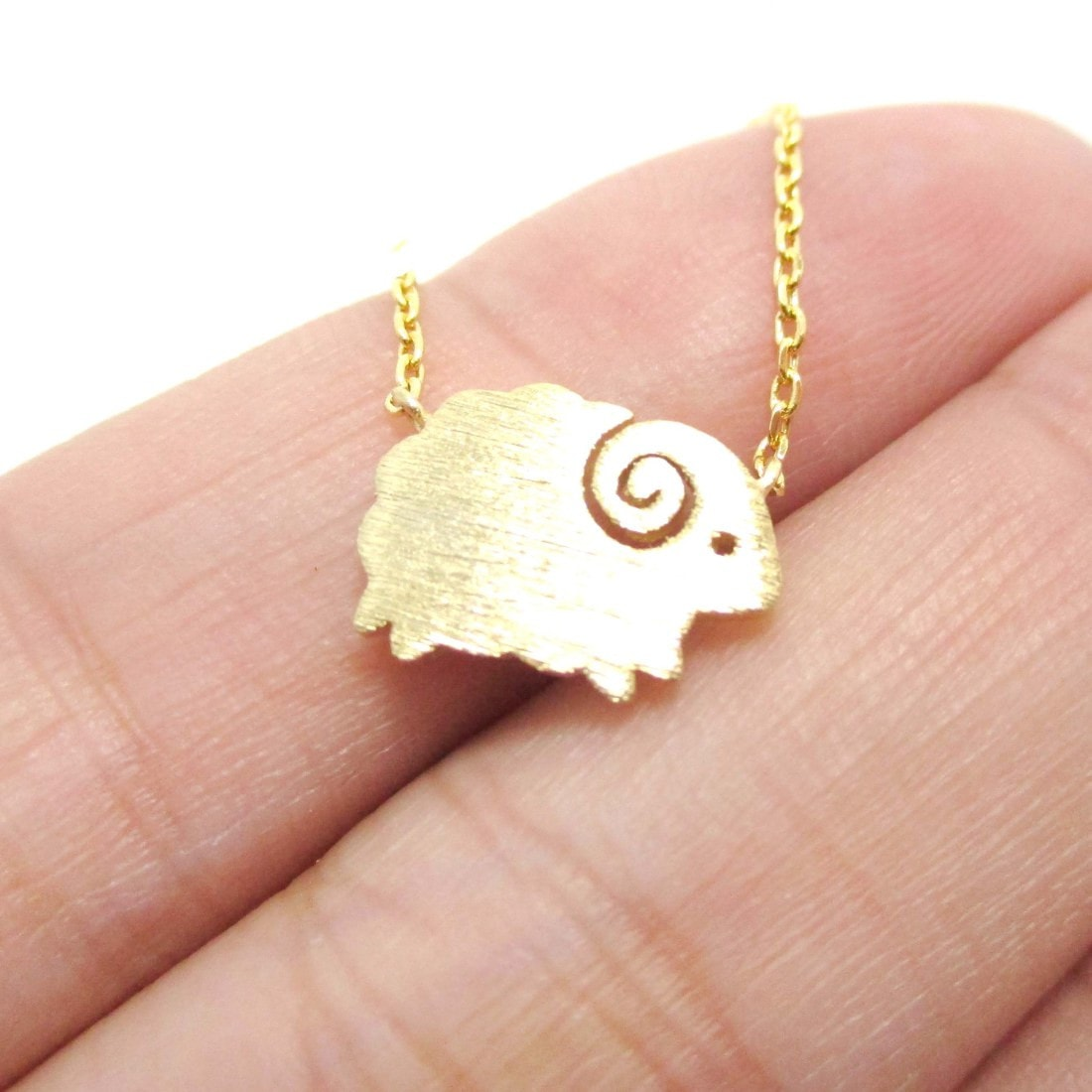 Mountain Goat Ram Sheep Shaped Charm Necklace in Gold