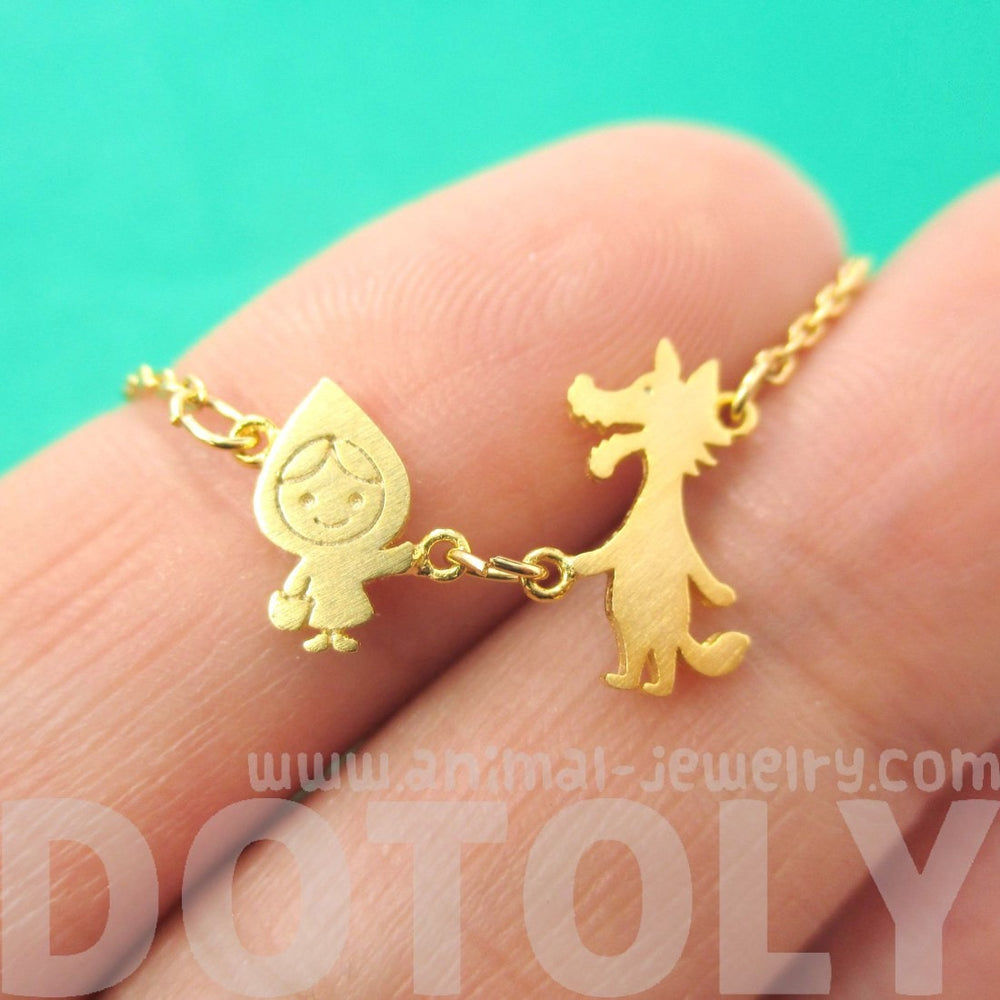 Little Red Riding Hood and Wolf Shaped Charm Necklace in Gold