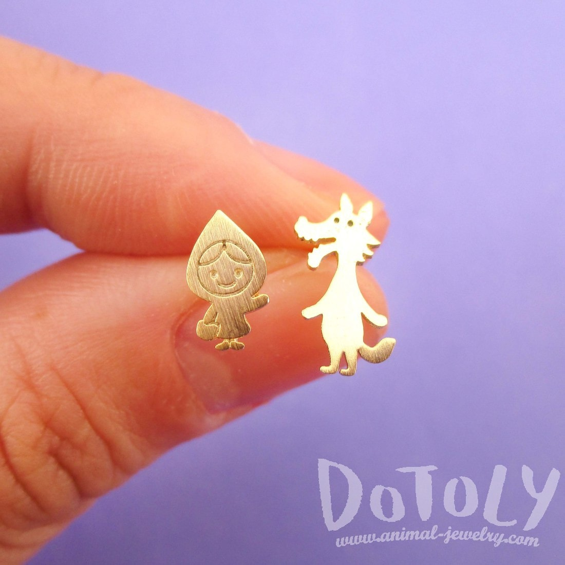 Little Red Riding Hood and Wolf Shaped Stud Earrings in Gold | DOTOLY
