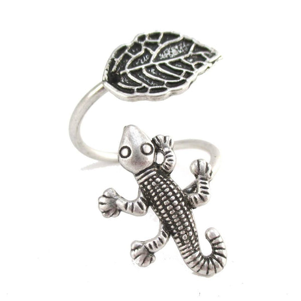 Lizard Gecko and Leaf Adjustable Wire Wrap Ring in Silver | DOTOLY