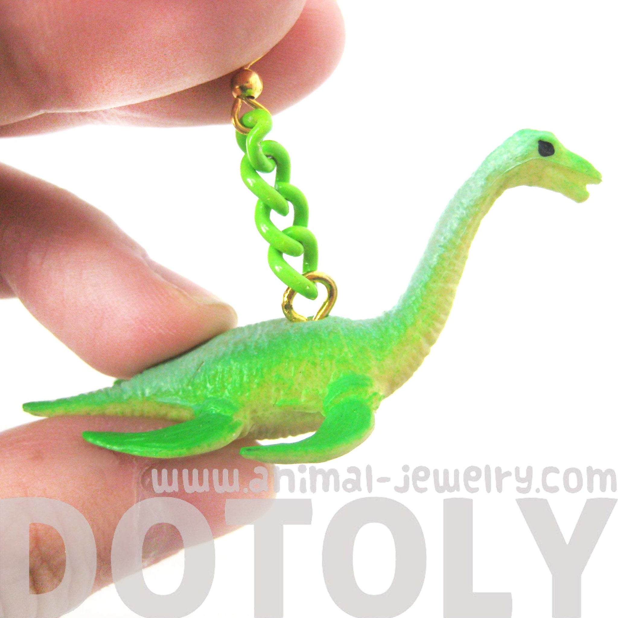 Loch Ness Sea Monster Plesiosauria Dinosaur Figurine Shaped Dangle Earrings in Green