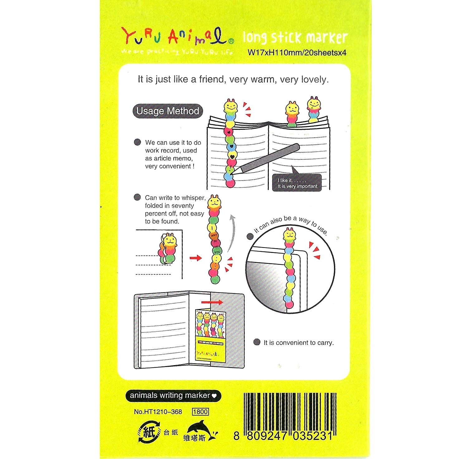 Long Caterpillar Shaped Animal Themed Memo Post-it Sticker Marker Pad