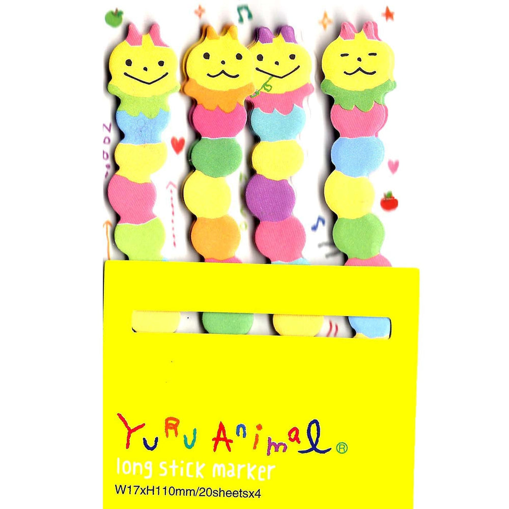 Long Caterpillar Bug Shaped Animal Themed Memo Post-it Sticker Marker Pad | DOTOLY