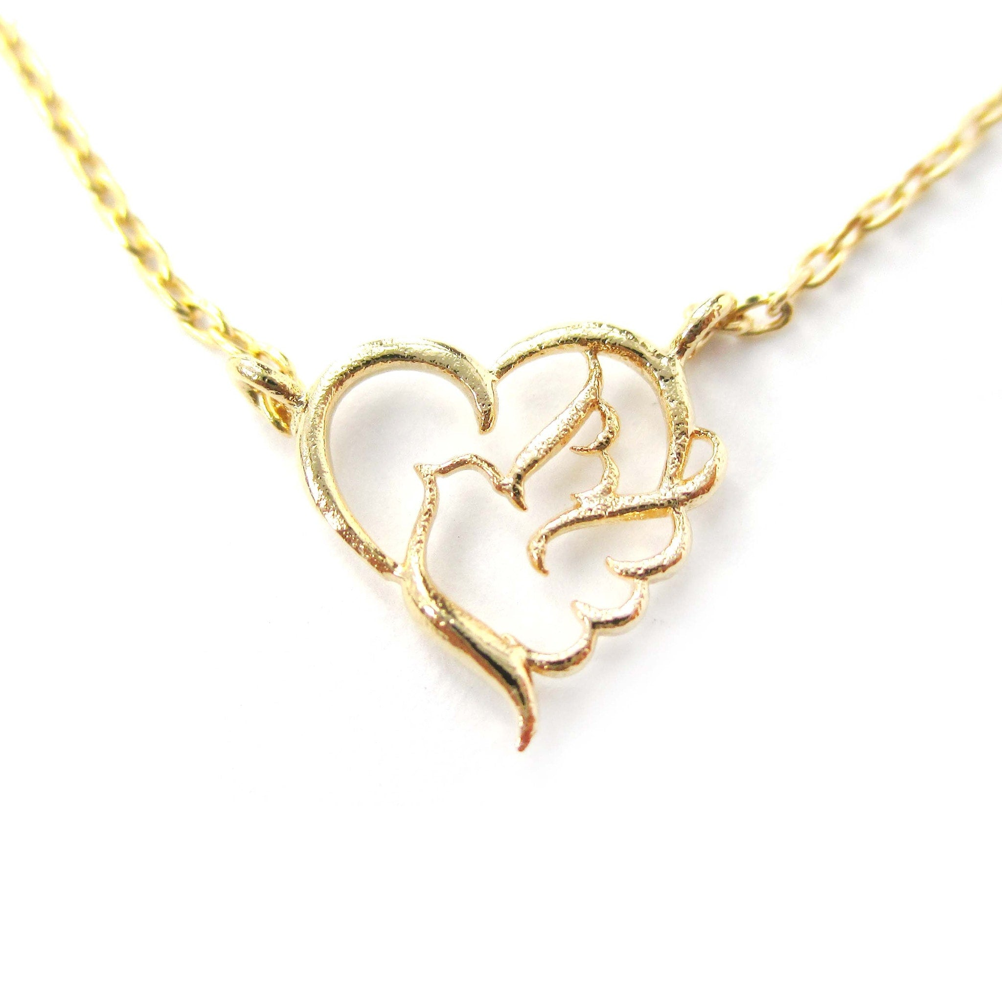 Love and Hope Heart Shaped Dove Outline Gold Charm Necklace | DOTOLY