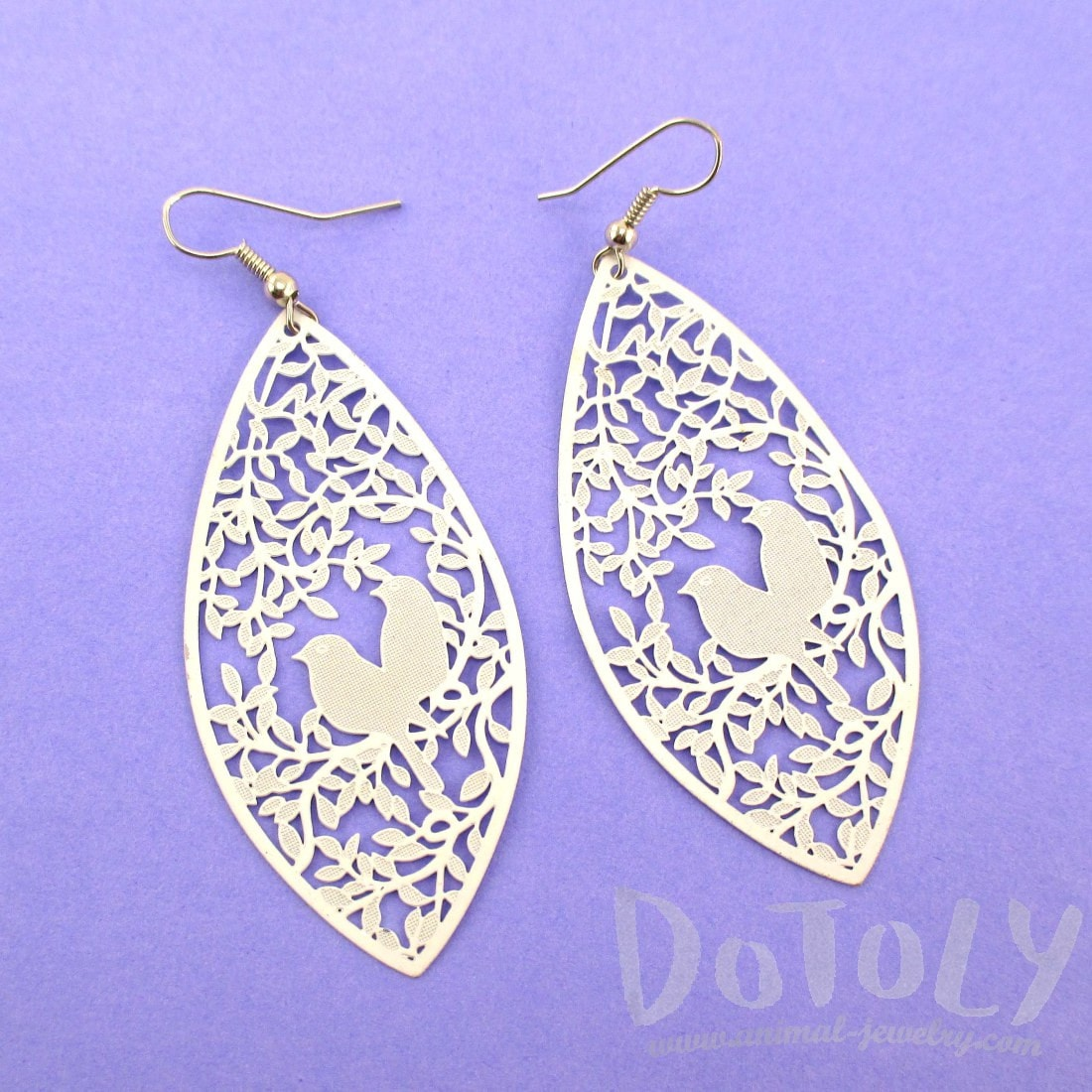Love Birds Floral Filigree Cut Out Petal Shaped Drop Earrings in White