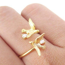 Love Birds Wrapped Around Your Finger Adjustable Ring in Gold | DOTOLY