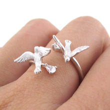 Doves Wrapped Around Your Finger Adjustable Ring in Silver | DOTOLY