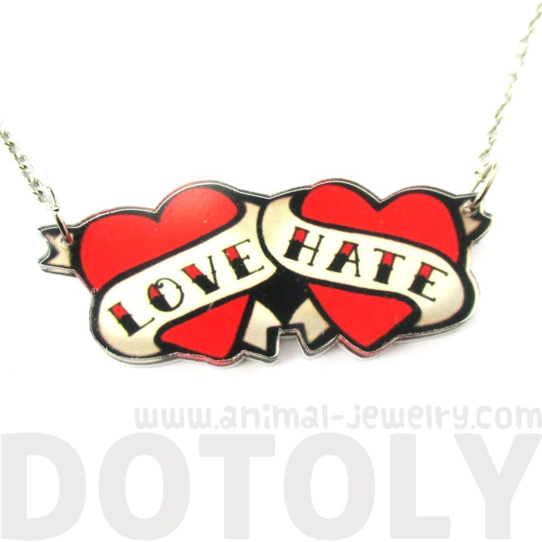 Love Hate Double Heart Banner Shaped Tattoo Inspired Acrylic Necklace
