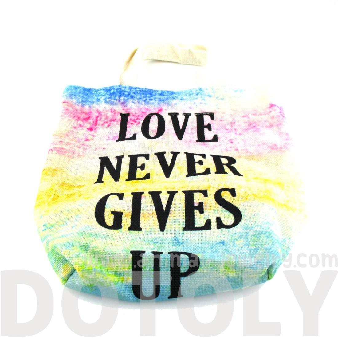 """Love Never Gives Up"" Print Rainbow Watercolor Tote Bag"