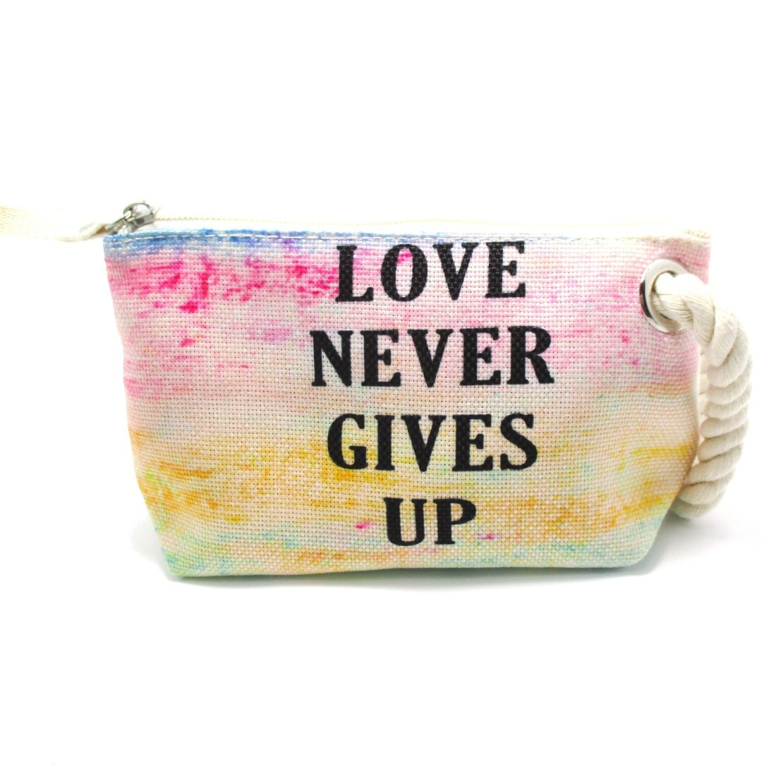 Love Never Gives Up Watercolor Clutch Make Up Bag