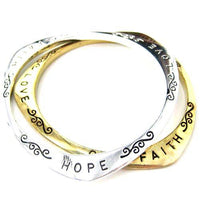 Triangular Hope Love Faith Letter Bangle Bracelet in Gold | DOTOLY