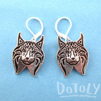 Lynx Cat Face Shaped Dangle Earrings in Silver | DOTOLY