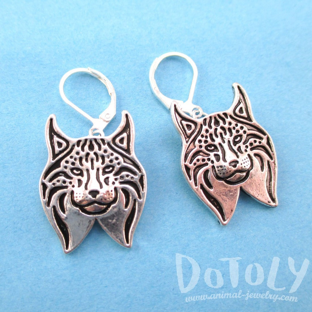 Lynx Cat Face Shaped Dangle Earrings in Silver | Animal Jewelry | DOTOLY