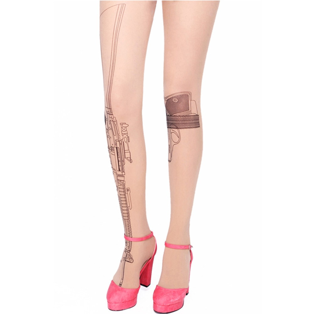 Machine Gun and Pistol Sheer Nude Tattoo Pantyhose Tights for Women