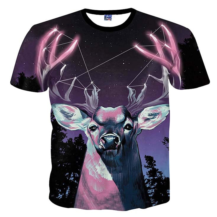 Majestic Stag in a Forest Against a Starry Night Sky Print Graphic Tee