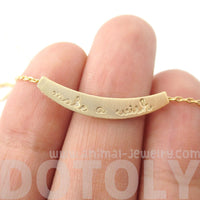 Make a Wish Engraved Minimal Bar Lucky Charm Necklace in Gold | DOTOLY