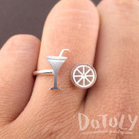Margarita and Lime Tequila Girls Just Want to Have Fun Adjustable Ring in Silver | DOTOLY