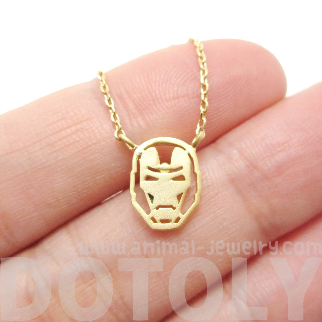 Marvel Iron Man Mask Shaped Pendant Necklace in Gold