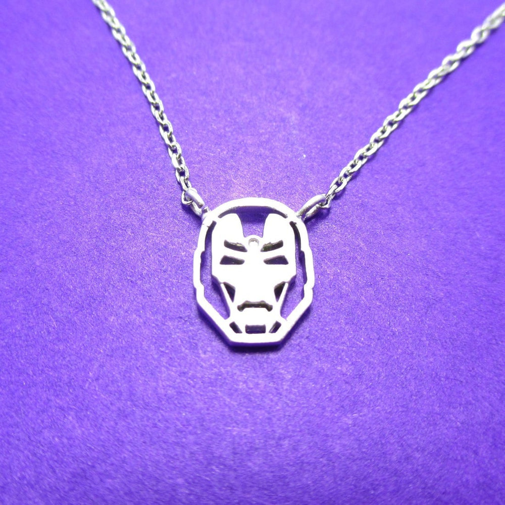 Marvel Iron Man Mask Shaped Pendant Necklace in Silver