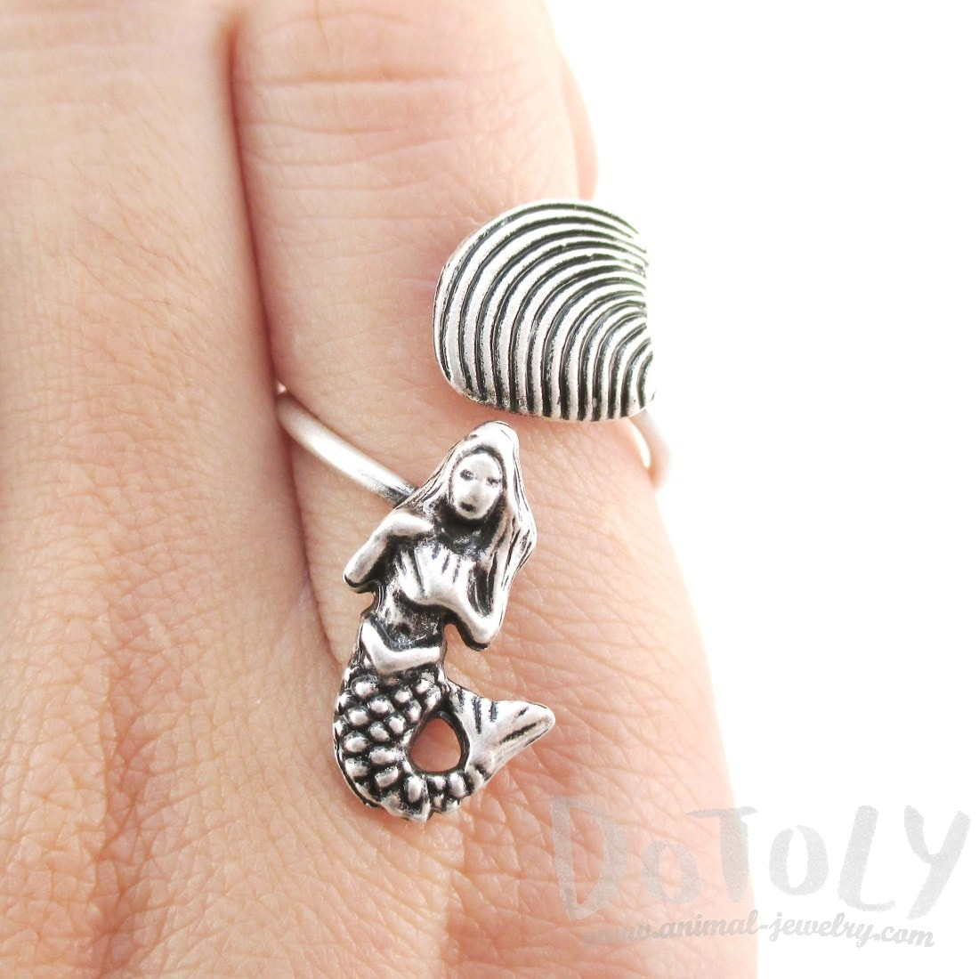Mermaid Seashell Wrap Around Adjustable Ring in Silver