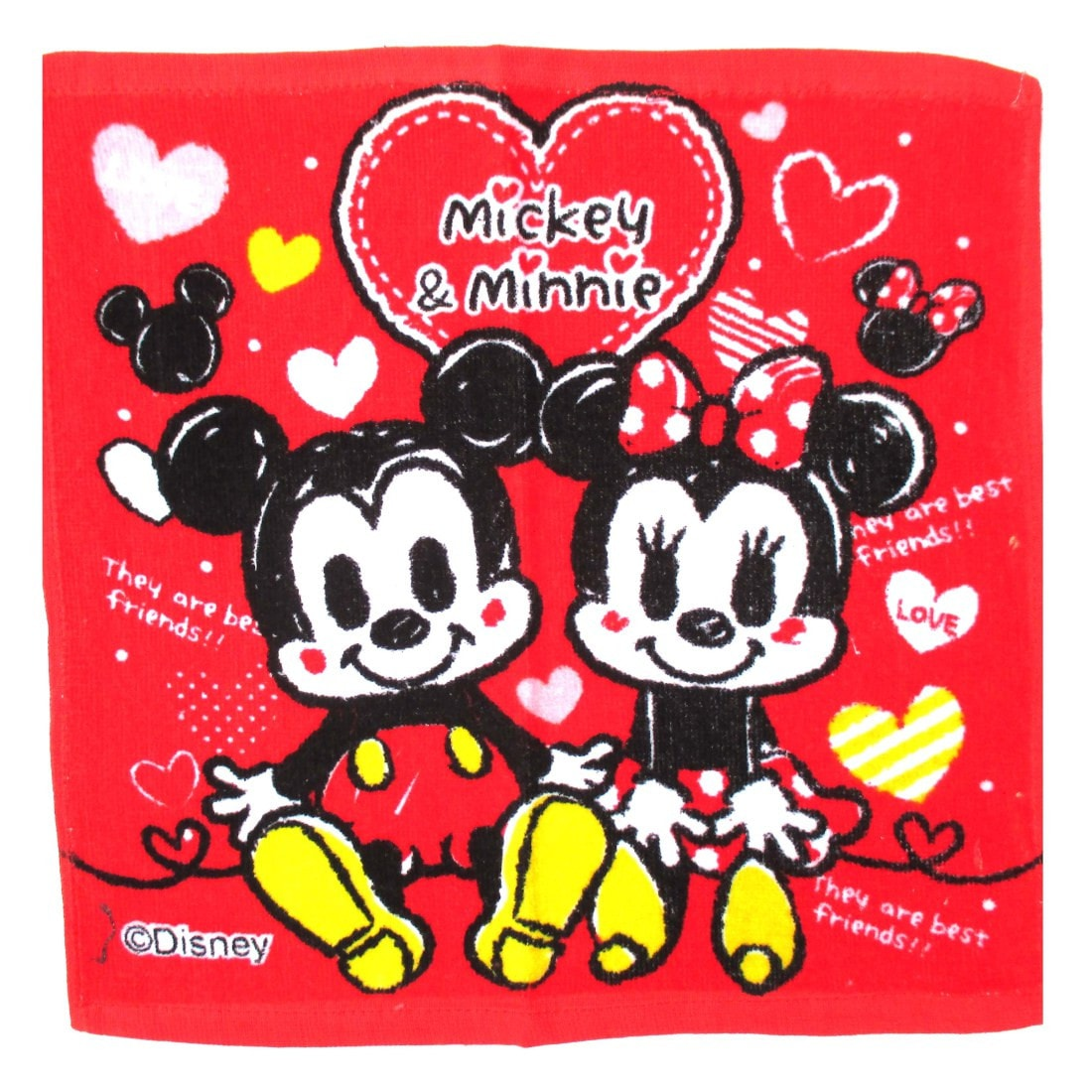 Mickey Minnie Mouse Cartoon Print Red Square Face Towel Handkerchief