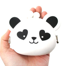 Panda Bear With Heart Shaped Eyes Silicone Clasp Coin Purse Pouch