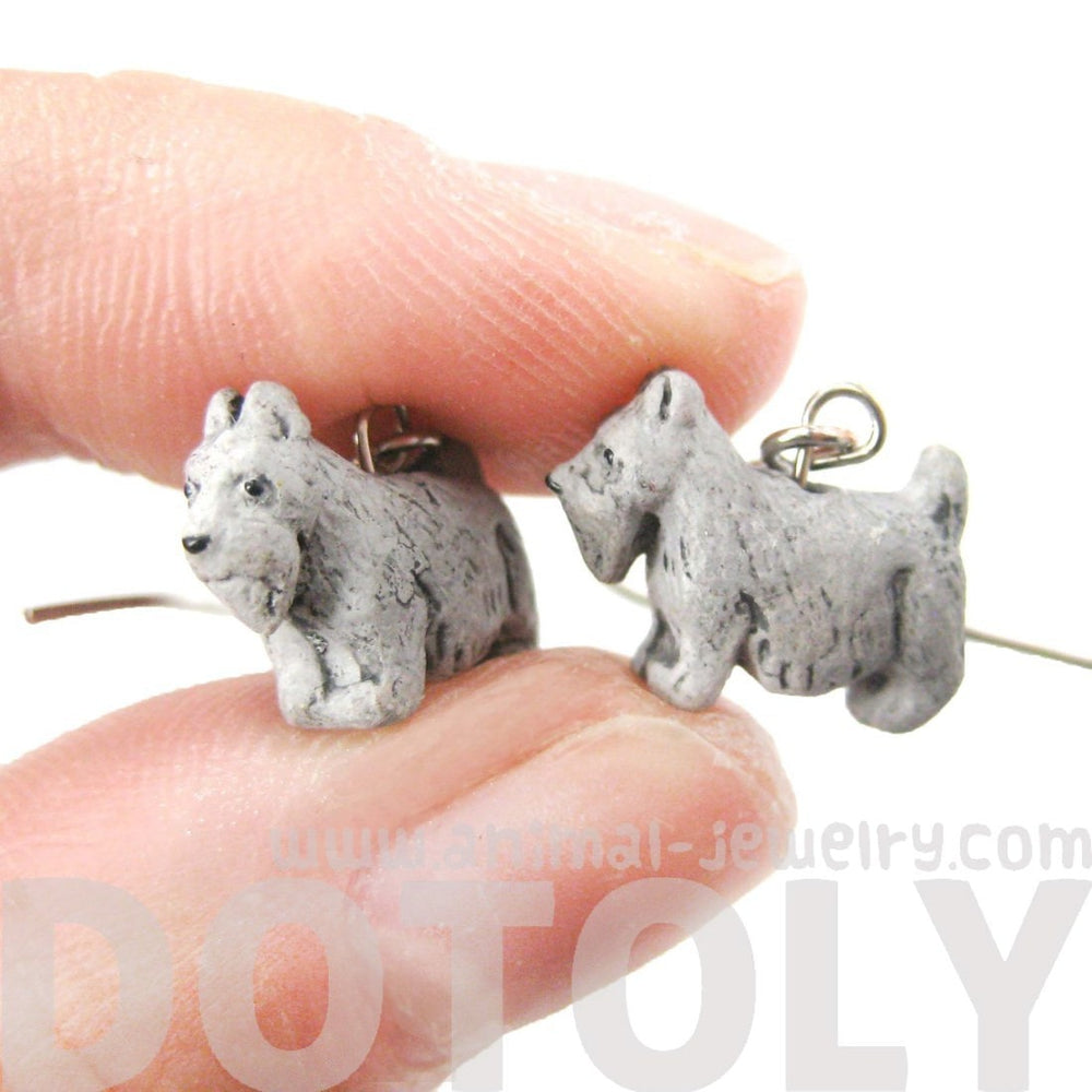 Mini Schnauzer Puppy Dog Shaped Porcelain Ceramic Dangle Earrings