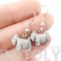 Mini Schnauzer Puppy Dog Shaped Porcelain Ceramic Animal Dangle Earrings | Handmade | DOTOLY