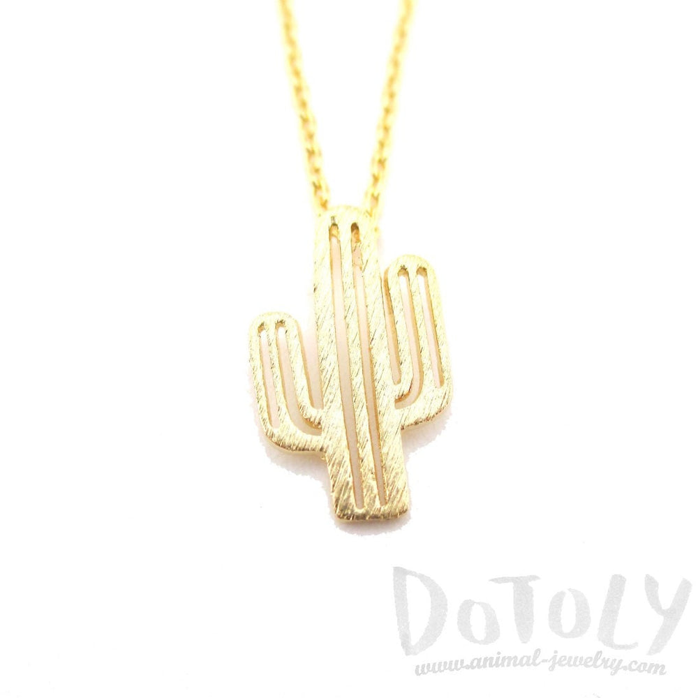 Miniature Arroyo Cactus Shaped Desert Themed Charm Necklace in Gold