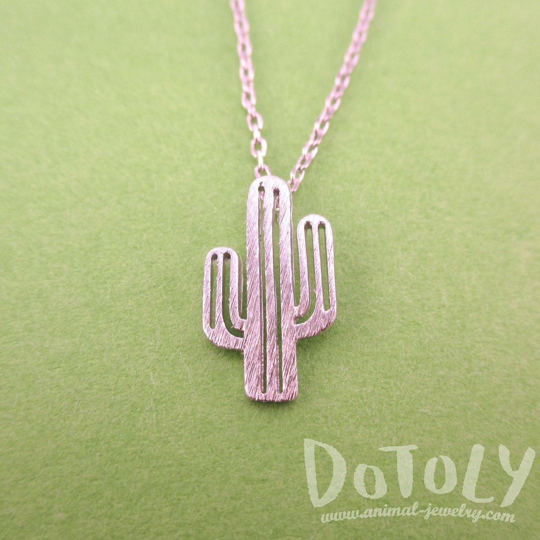 Miniature Arroyo Cactus Shaped Desert Themed Charm Necklace in Silver