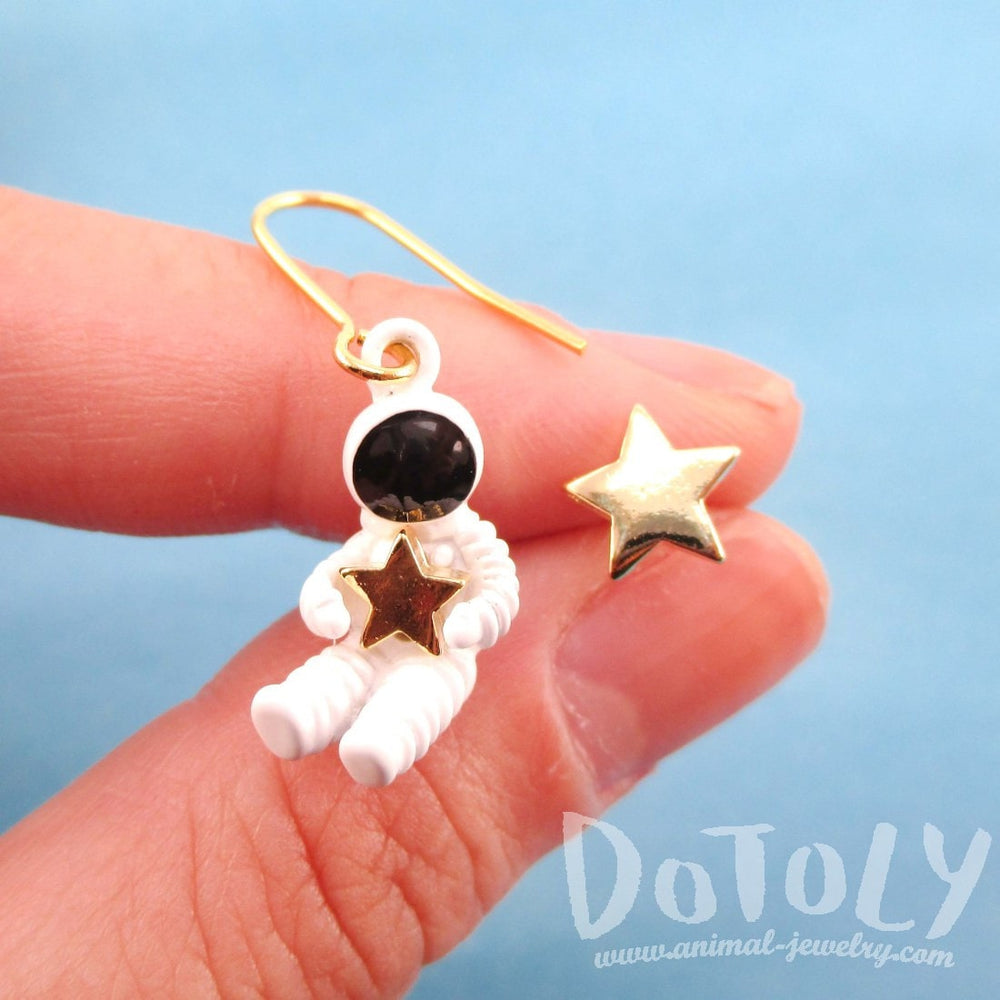 Miniature Astronaut and Star Shaped Space Themed Enamel Earrings