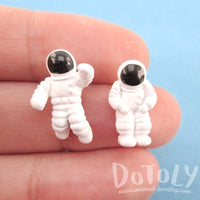 Miniature Astronauts Shaped Space Themed Stud Earrings in White