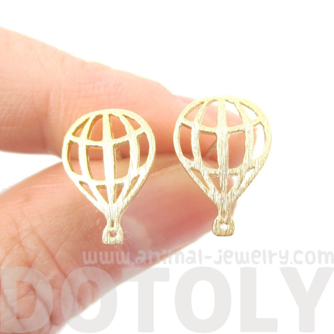 Hot Air Balloon Outline Cut Out Shaped Stud Earrings in Gold