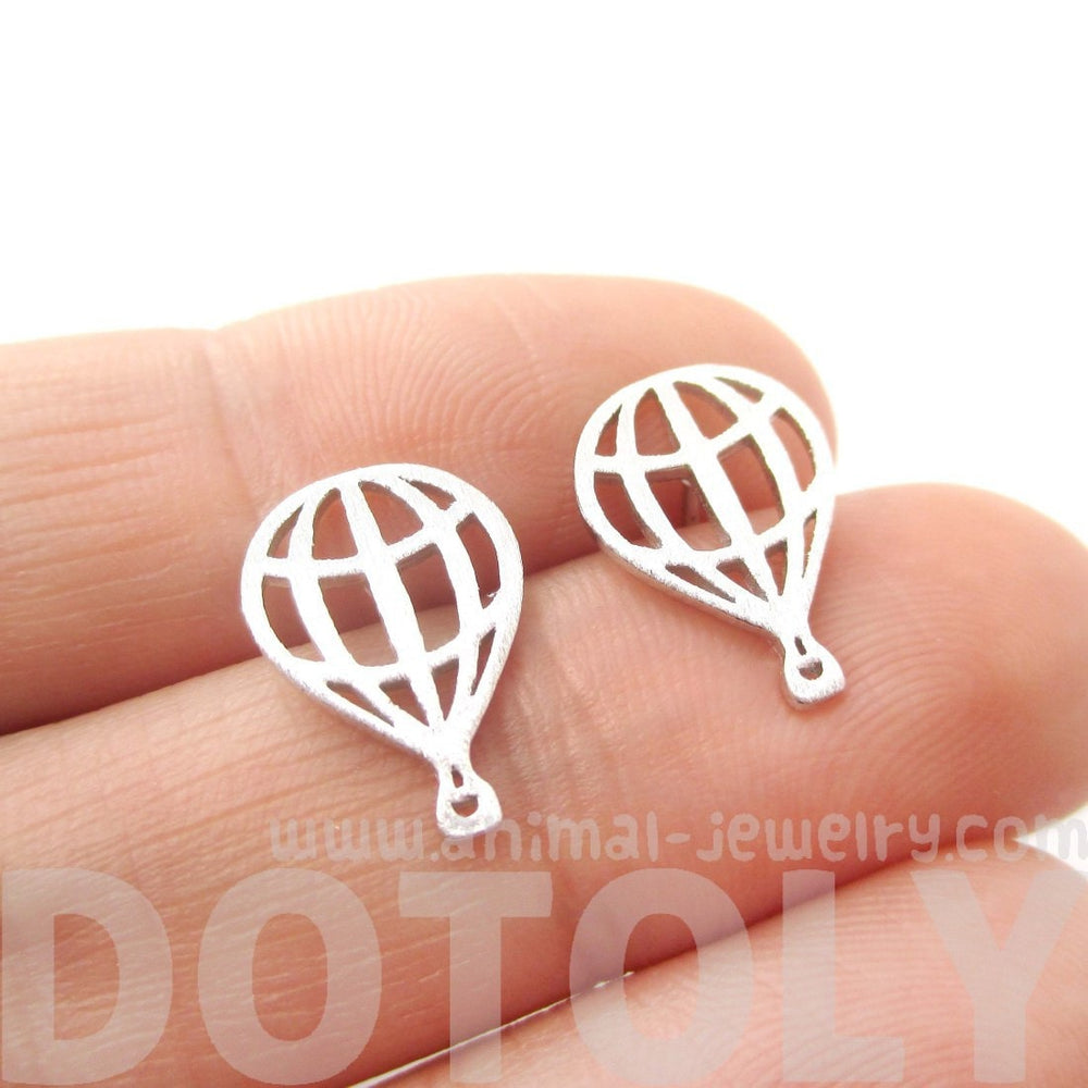 Hot Air Balloon Outline Cut Out Shaped Stud Earrings in Silver