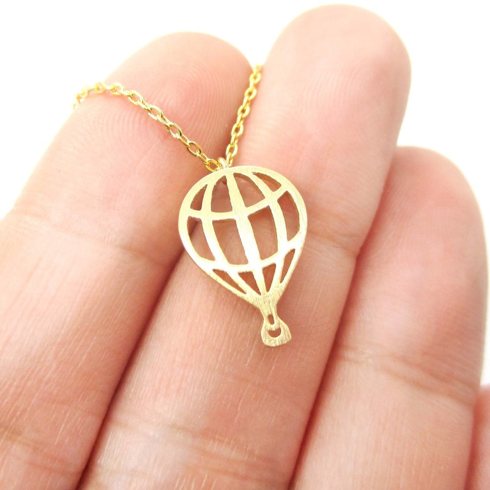 Miniature Hot Air Balloon Shaped Cut Out Charm Necklace in Gold