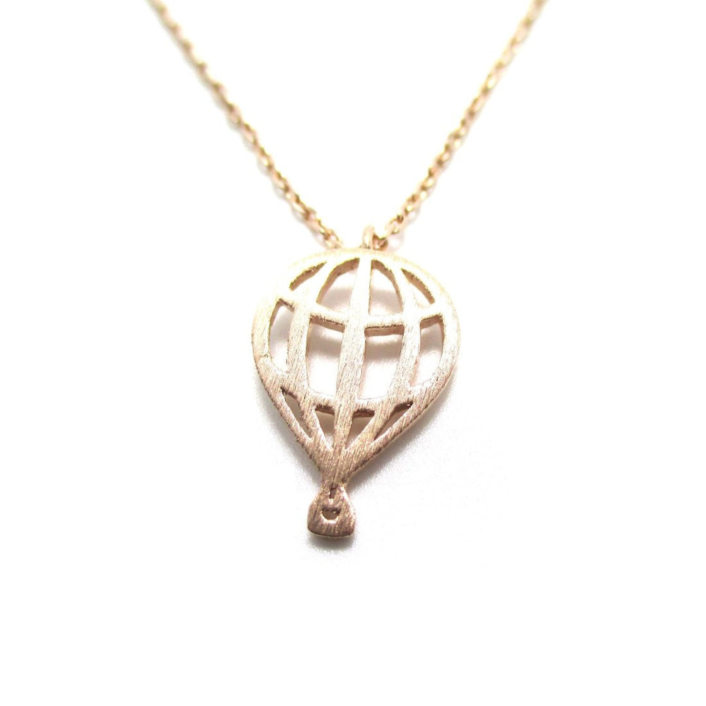 Mini Hot Air Balloon Shaped Charm Necklace in Rose Gold