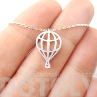 Mini Hot Air Balloon Shaped Cut Out Charm Necklace in Silver | DOTOLY