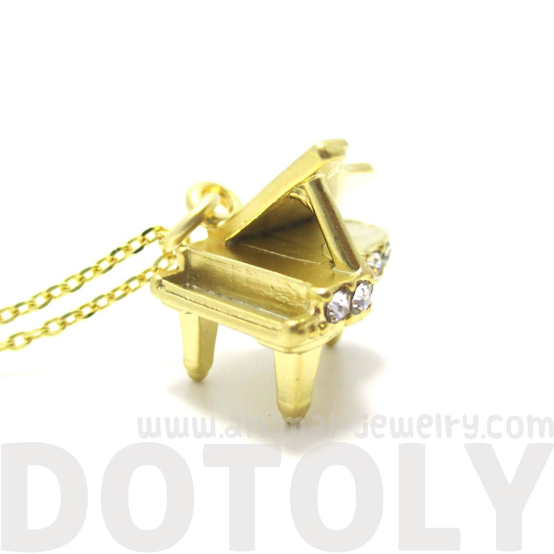 Miniature Music Realistic Grand Piano Necklace in Gold