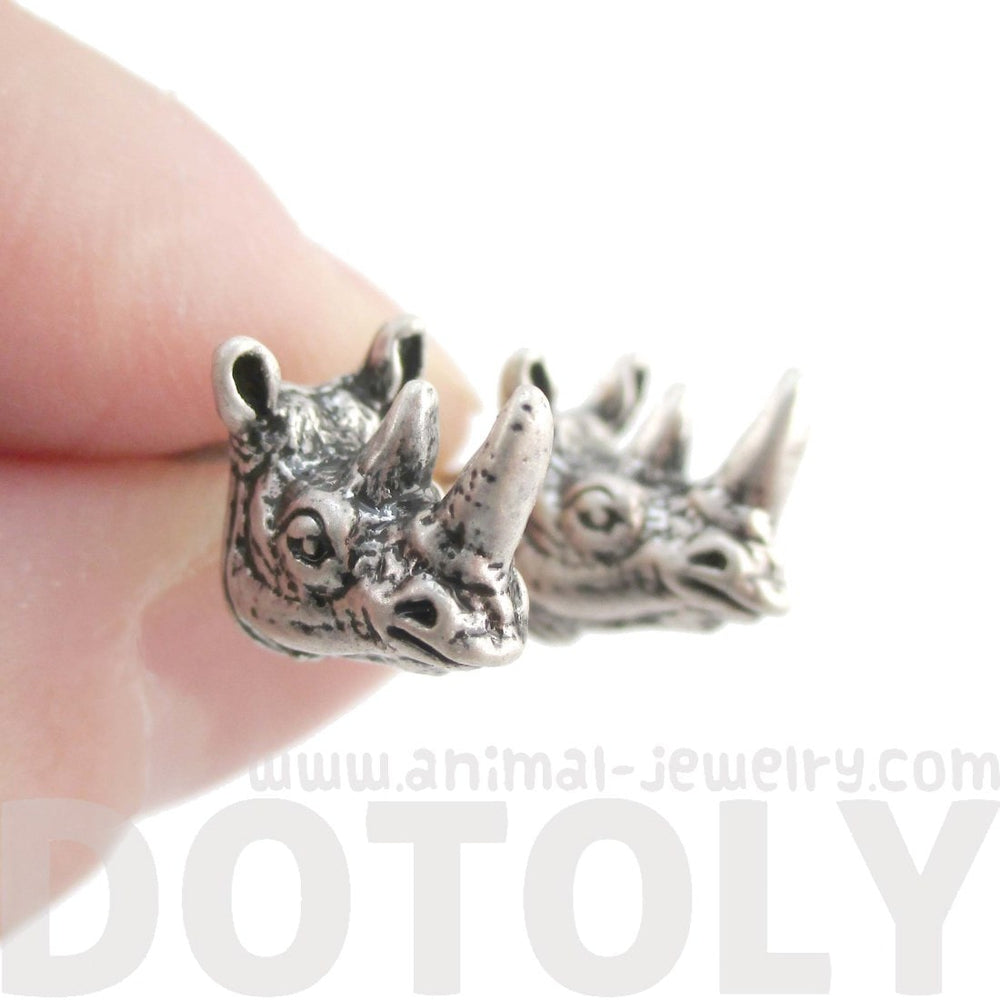 Miniature Rhinoceros Shaped Realistic Stud Earrings