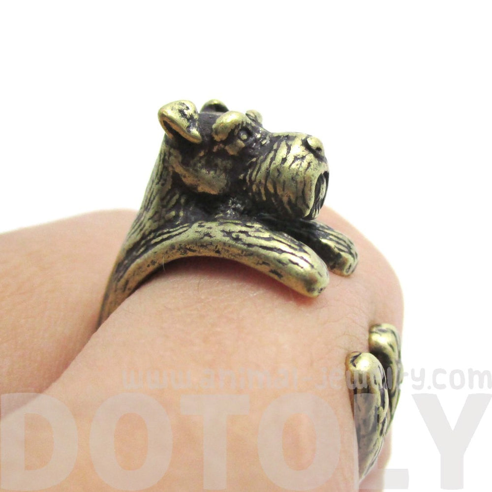 Miniature Schnauzer Shaped Animal Wrap Ring in Brass