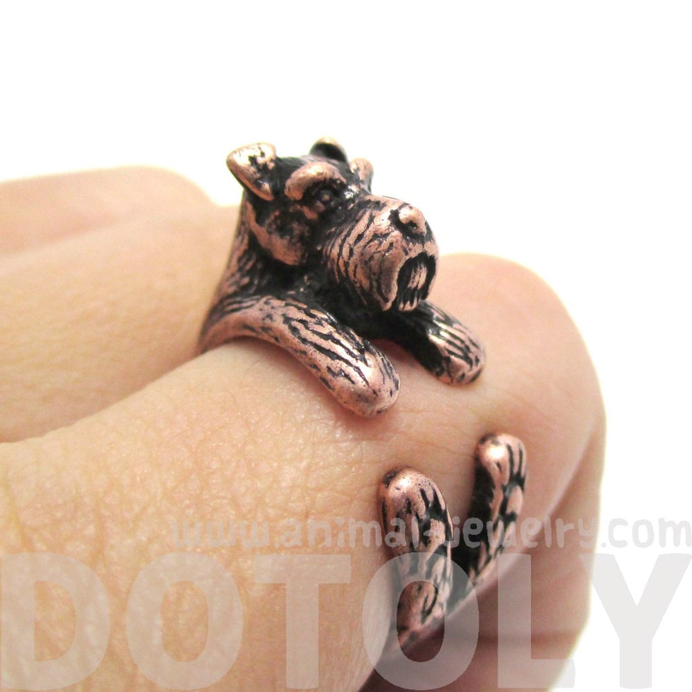 Miniature Schnauzer Dog Shaped Animal Wrap Ring in Copper | US Sizes 5 to 9 | DOTOLY