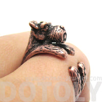 Miniature Schnauzer Shaped Animal Wrap Ring in Copper