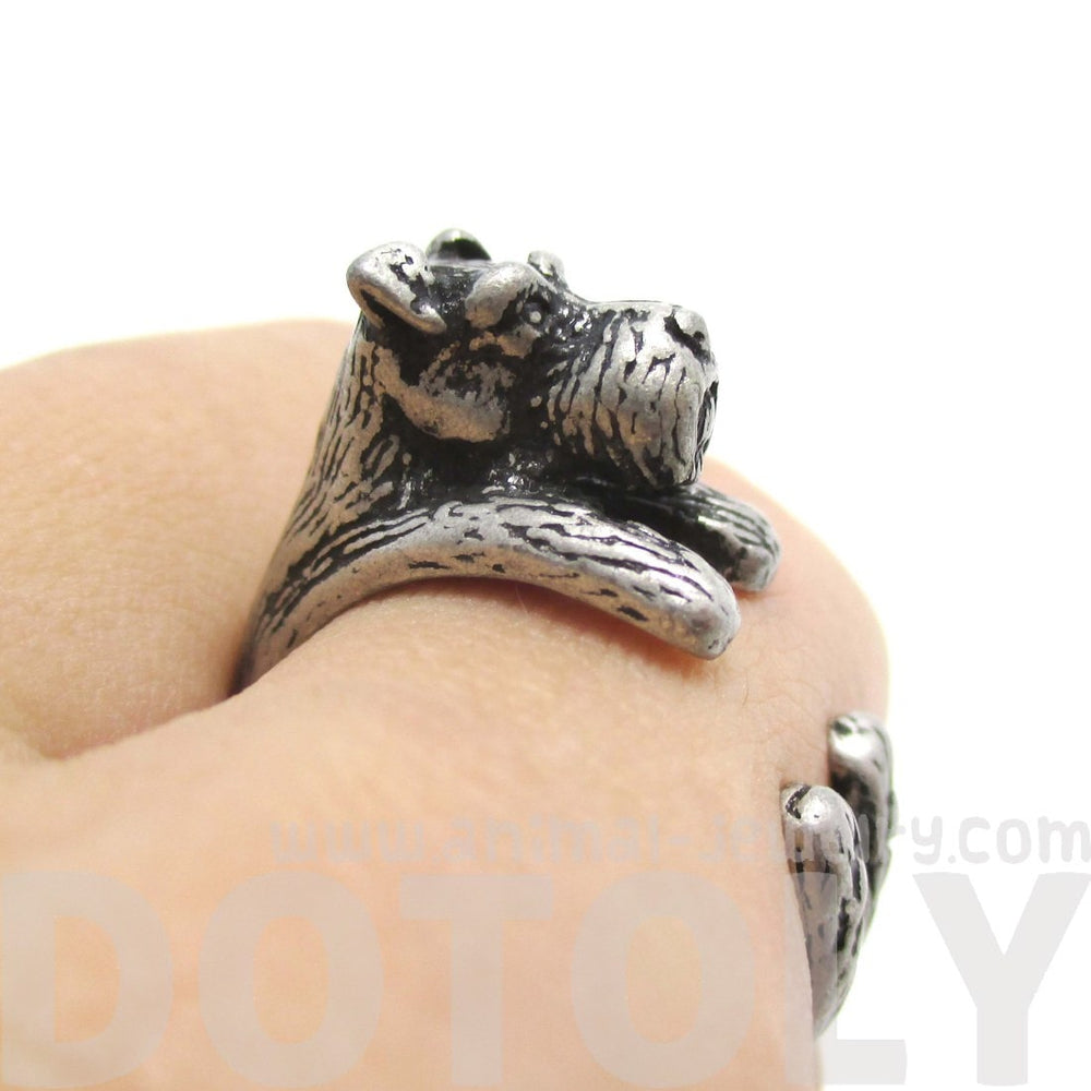 Miniature Schnauzer Shaped Animal Wrap Ring in Silver