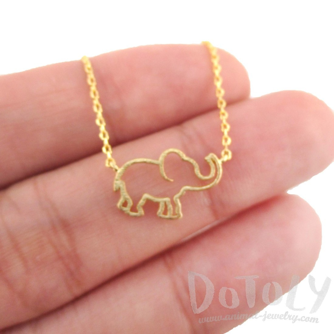 Minimal Baby Elephant Outline Shaped Pendant Necklace in Gold | DOTOLY