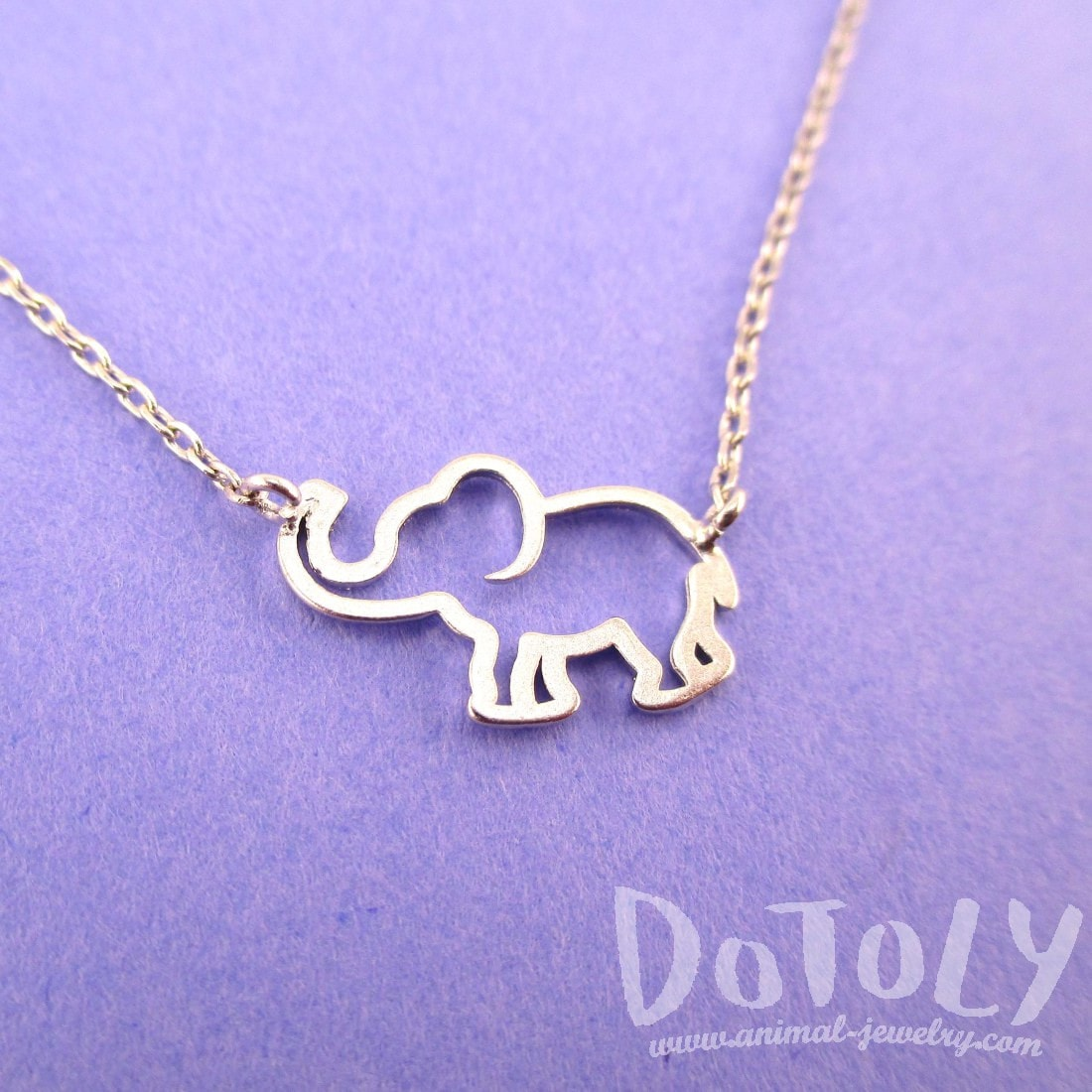 Minimal Baby Elephant Outline Shaped Pendant Necklace in Silver
