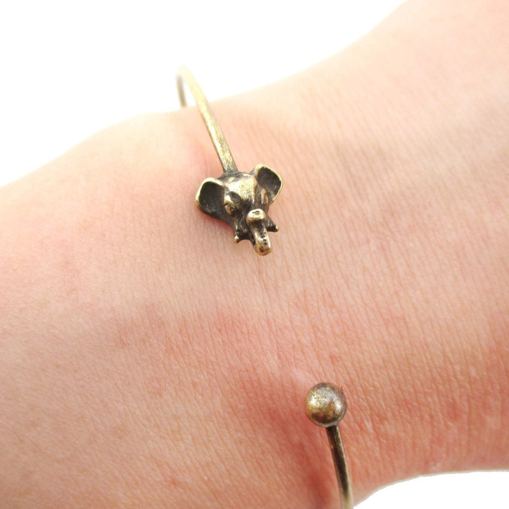Minimal Bangle Bracelet Cuff with Elephant Charm in Brass | DOTOLY