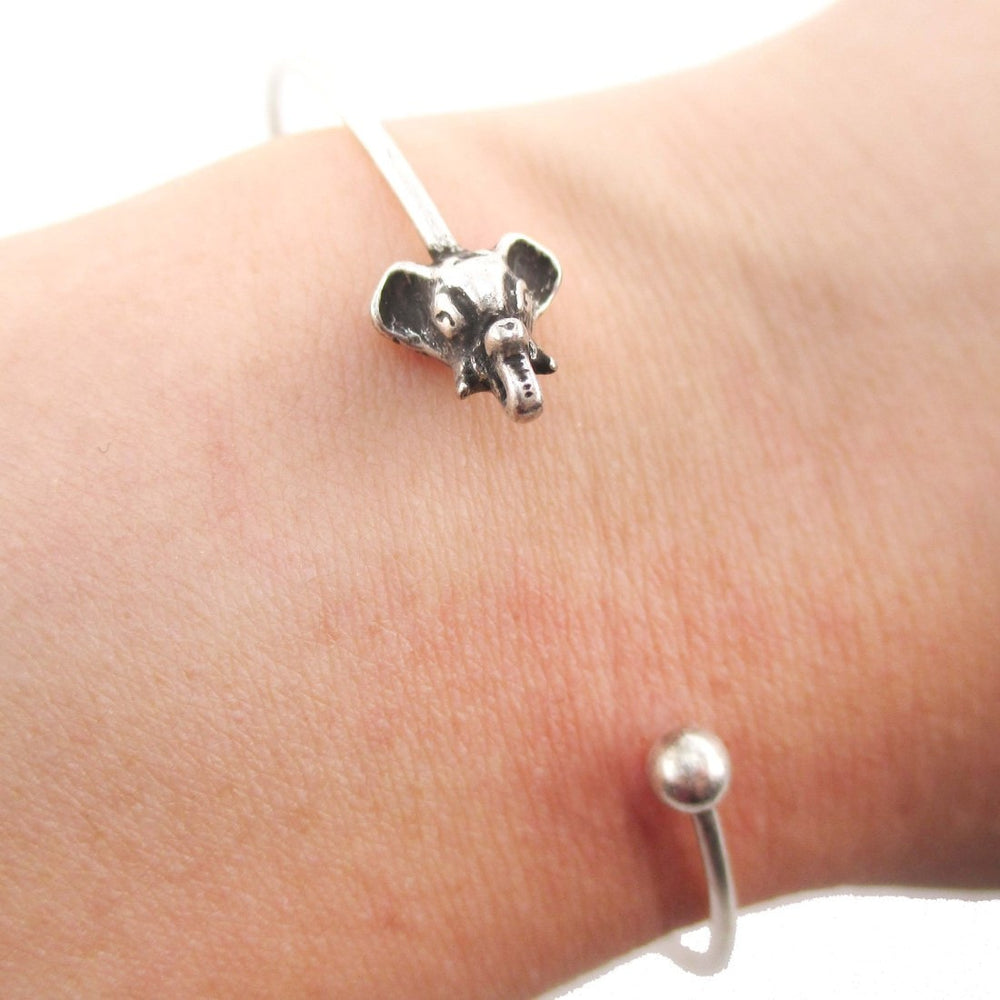 Minimal Bangle Bracelet Cuff with Elephant Charm in Silver | DOTOLY
